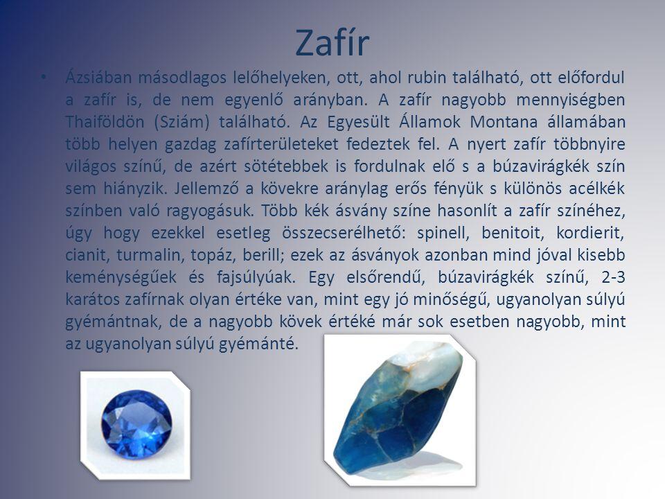 Zafír Ázsiában másodlagos lelőhelyeken, ott, ahol rubin található, ott előfordul a zafír is, de nem egyenlő arányban. A zafír nagyobb mennyiségben Tha