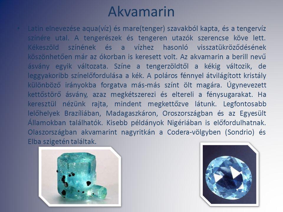 Akvamarin Latin elnevezése aqua(víz) és mare(tenger) szavakból kapta, és a tengervíz színére utal. A tengerészek és tengeren utazók szerencse köve let