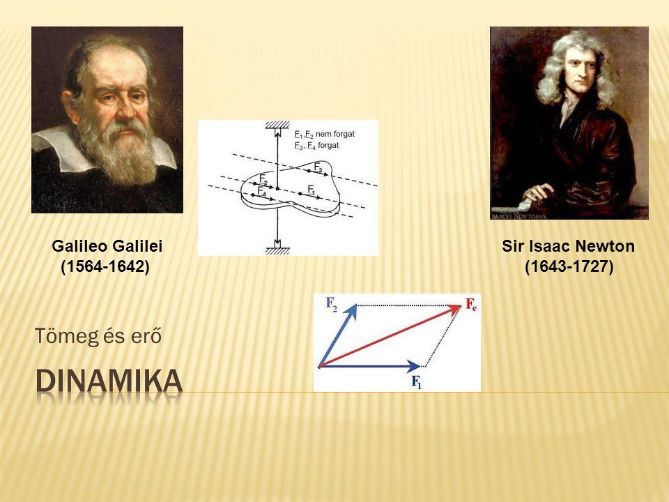 Tömeg és erő Galileo Galilei (1564-1642) Sir Isaac Newton (1643-1727)