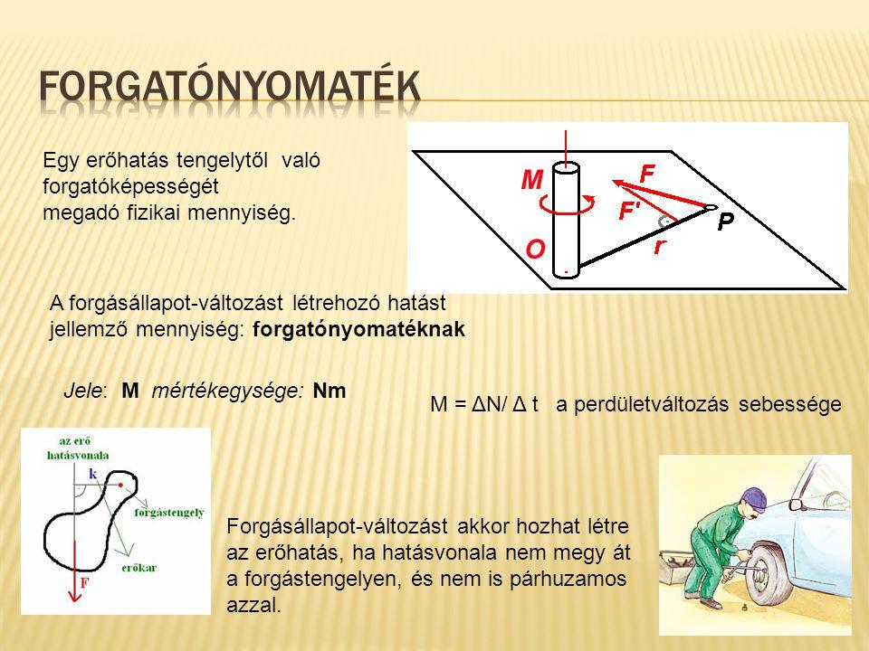 Egy erőhatás tengelytől való forgatóképességét megadó fizikai mennyiség. Jele: M mértékegysége: Nm M = ΔN/ Δ t a perdületváltozás sebessége Forgásálla
