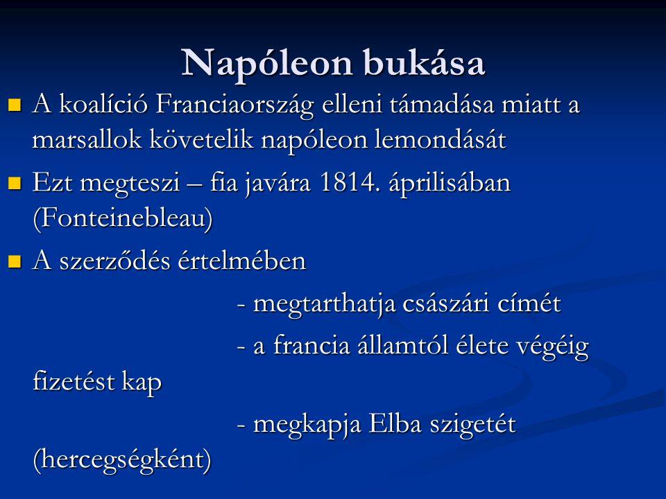 Napóleon bukása A koalíció Franciaország elleni támadása miatt a marsallok követelik napóleon lemondását A koalíció Franciaország elleni támadása miat