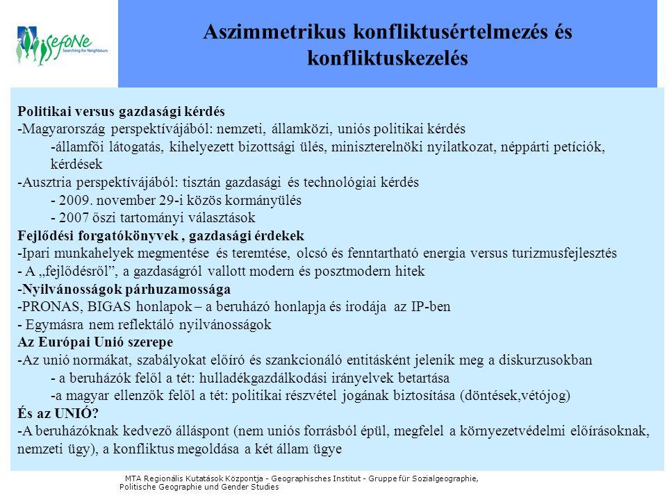 Aszimmetrikus konfliktusértelmezés és konfliktuskezelés Politikai versus gazdasági kérdés -Magyarország perspektívájából: nemzeti, államközi, uniós politikai kérdés -államfői látogatás, kihelyezett bizottsági ülés, miniszterelnöki nyilatkozat, néppárti petíciók, kérdések -Ausztria perspektívájából: tisztán gazdasági és technológiai kérdés - 2009.