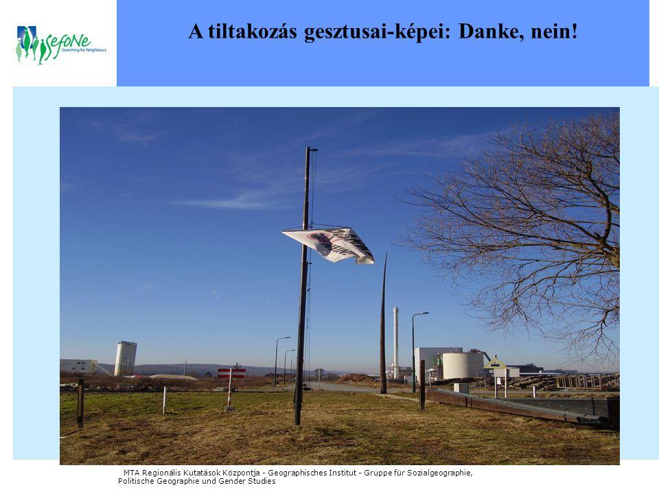 A tiltakozás gesztusai-képei: Danke, nein! MTA Regionális Kutatások Központja - Geographisches Institut - Gruppe für Sozialgeographie, Politische Geog