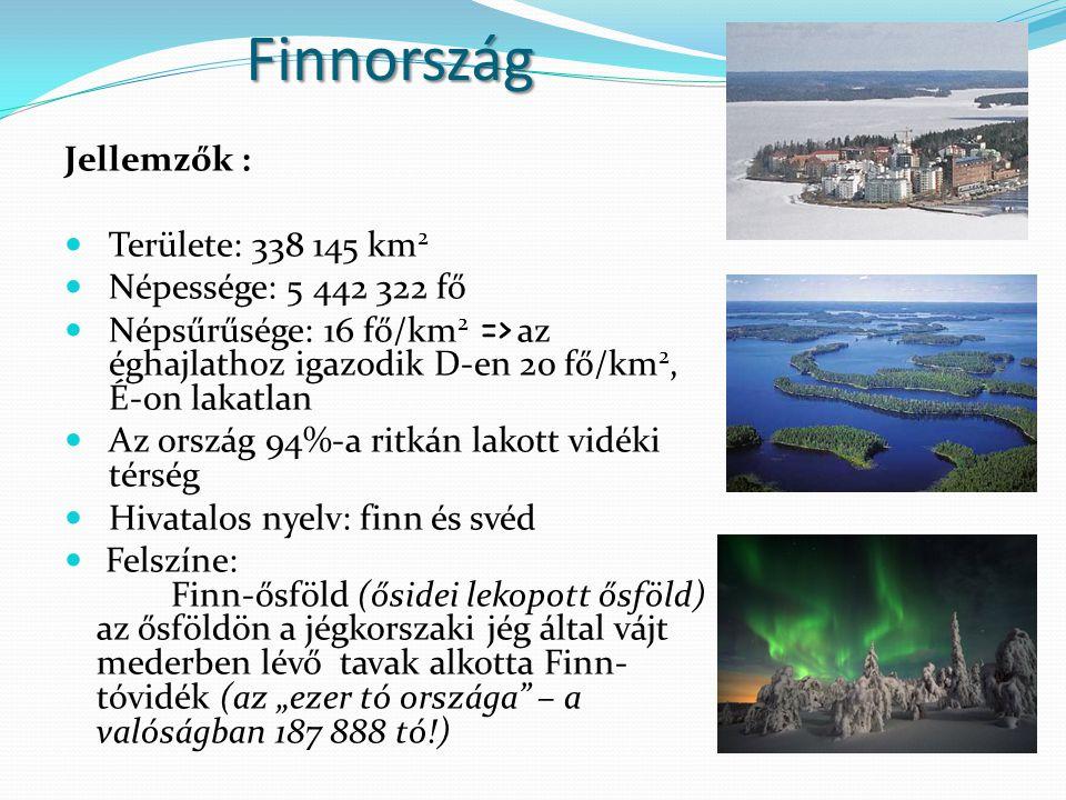 Finnország Jellemzők : Területe: 338 145 km 2 Népessége: 5 442 322 fő Népsűrűsége: 16 fő/km 2 => az éghajlathoz igazodik D-en 20 fő/km 2, É-on lakatla