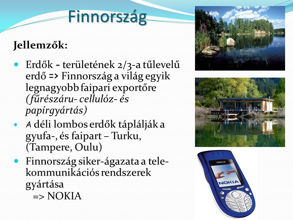 Finnország Jellemzők: - Erdők - területének 2/3-a tűlevelű erdő => Finnország a világ egyik legnagyobb faipari exportőre (fűrészáru- cellulóz- és papí