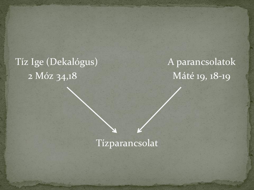Tíz Ige (Dekalógus) A parancsolatok 2 Móz 34,18 Máté 19, 18-19 Tízparancsolat