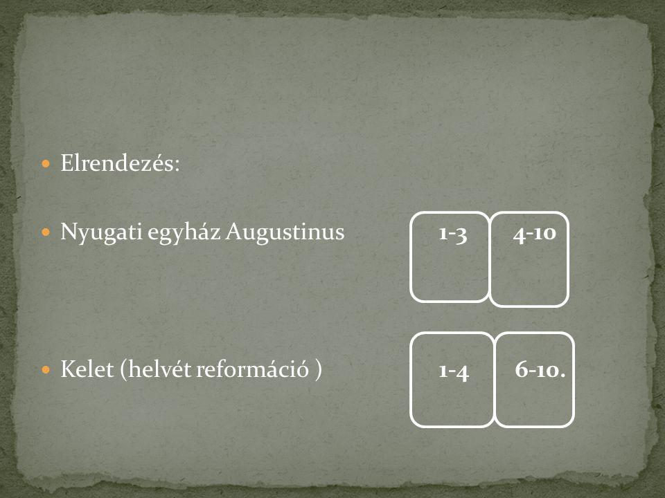Elrendezés: Nyugati egyház Augustinus 1-3 4-10 Kelet (helvét reformáció ) 1-4 6-10.
