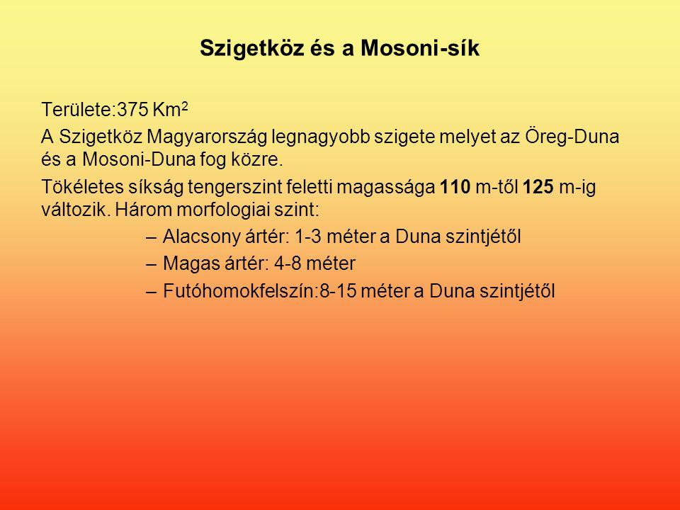 Szigetköz és a Mosoni-sík Területe:375 Km 2 A Szigetköz Magyarország legnagyobb szigete melyet az Öreg-Duna és a Mosoni-Duna fog közre.