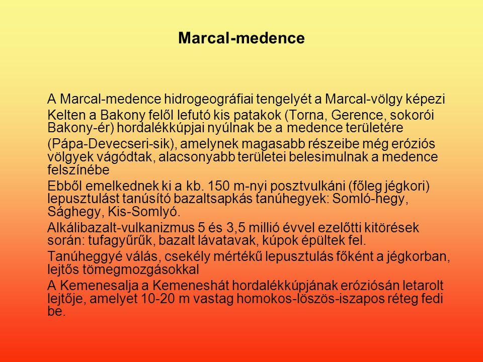 Marcal-medence A Marcal-medence hidrogeográfiai tengelyét a Marcal-völgy képezi Kelten a Bakony felől lefutó kis patakok (Torna, Gerence, sokorói Bakony-ér) hordalékkúpjai nyúlnak be a medence területére (Pápa-Devecseri-sik), amelynek magasabb részeibe még eróziós völgyek vágódtak, alacsonyabb területei belesimulnak a medence felszínébe Ebből emelkednek ki a kb.