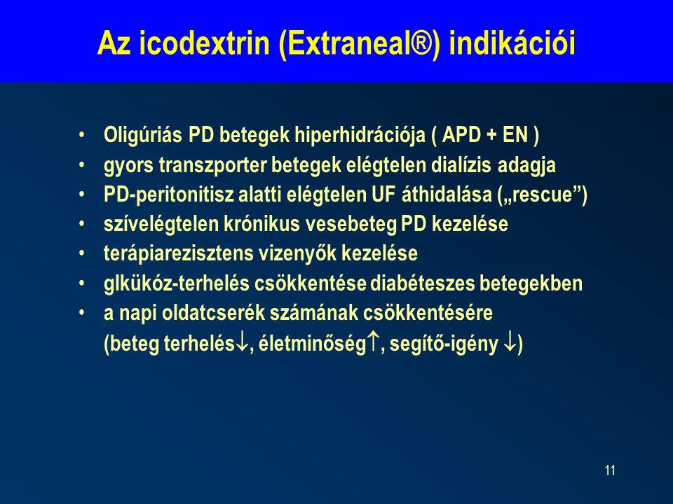 11 Az icodextrin (Extraneal®) indikációi Oligúriás PD betegek hiperhidrációja ( APD + EN ) gyors transzporter betegek elégtelen dialízis adagja PD-per