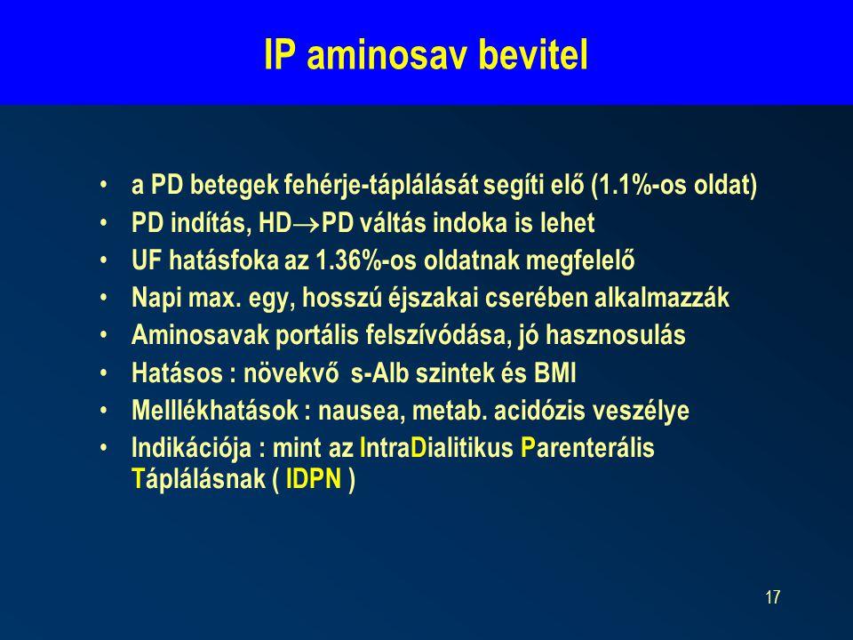 17 a PD betegek fehérje-táplálását segíti elő (1.1%-os oldat) PD indítás, HD  PD váltás indoka is lehet UF hatásfoka az 1.36%-os oldatnak megfelelő N