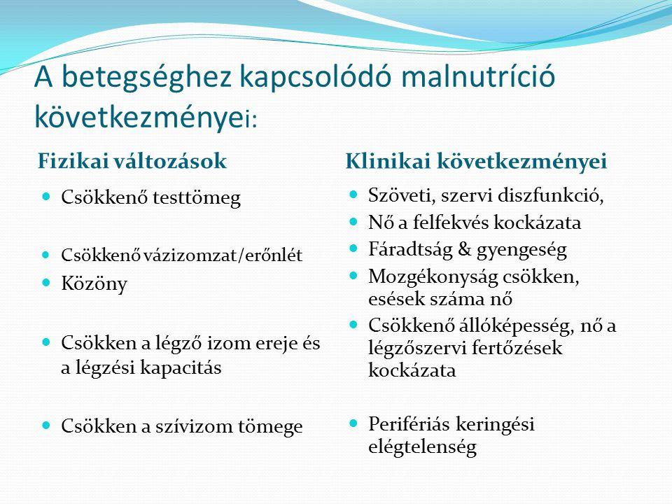 A betegséghez kapcsolódó malnutríció következménye i: Fizikai változások Csökkenő testtömeg Csökkenő vázizomzat/erőnlét Közöny Csökken a légző izom er