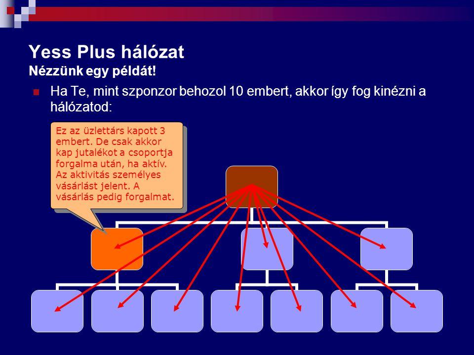 Yess Plus hálózat Nézzünk egy példát! Ha Te, mint szponzor behozol 10 embert, akkor így fog kinézni a hálózatod: Ez az üzlettárs kapott 3 embert. De c