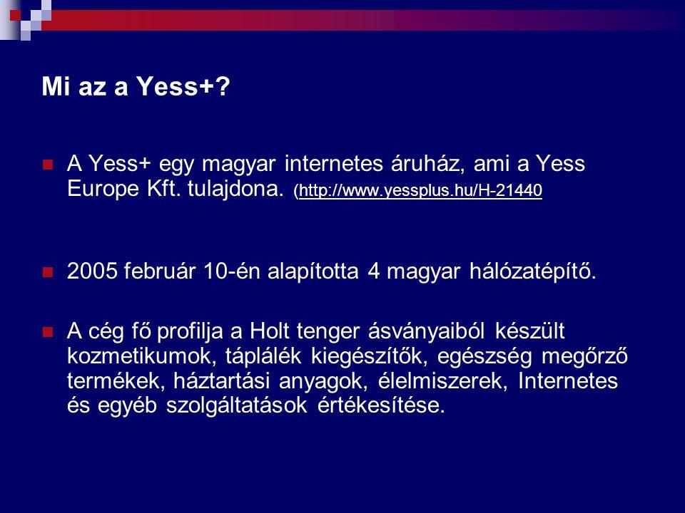 Mi az a Yess+? A Yess+ egy magyar internetes áruház, ami a Yess Europe Kft. tulajdona. (http://www.yessplus.hu/H-21440http://www.yessplus.hu/H-21440 2