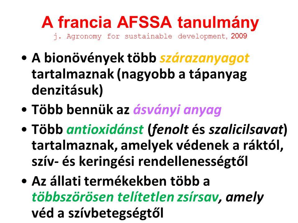 A francia AFSSA tanulmány j. Agronomy for sustainable development, 2009 A bionövények több szárazanyagot tartalmaznak (nagyobb a tápanyag denzitásuk)