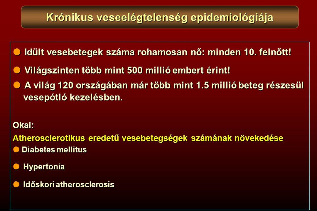 Krónikus veseelégtelenség epidemiológiája  Idült vesebetegek száma rohamosan nő: minden 10. felnőtt!  Világszinten több mint 500 millió embert érint