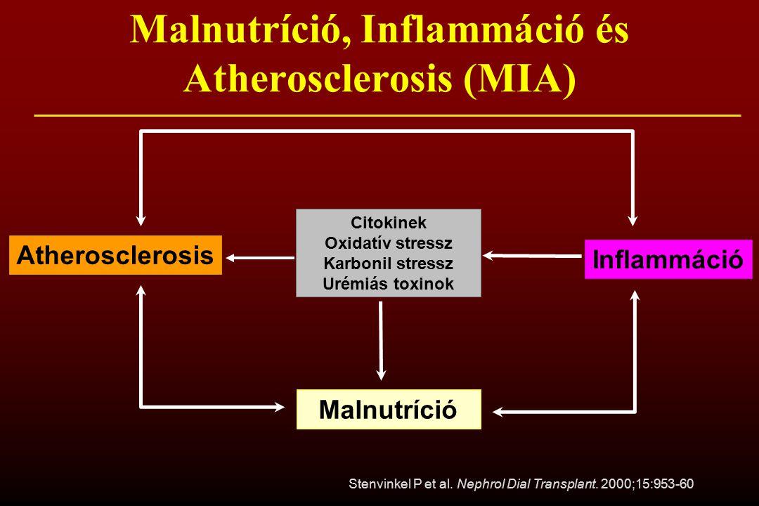 Inflammáció Atherosclerosis Citokinek Oxidatív stressz Karbonil stressz Urémiás toxinok Malnutríció Malnutríció, Inflammáció és Atherosclerosis (MIA)