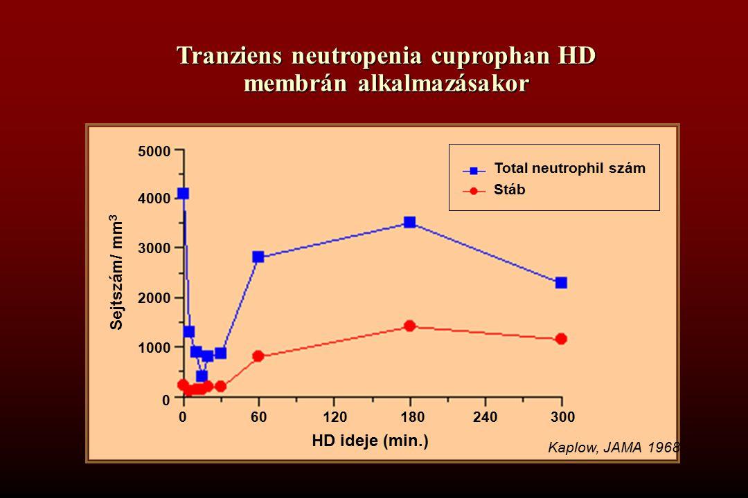 Tranziens neutropenia cuprophan HD membrán alkalmazásakor HD ideje (min.) 5000 4000 3000 2000 1000 0 601201802403000 Total neutrophil szám Stáb Sejtszám/ mm 3 Kaplow, JAMA 1968.
