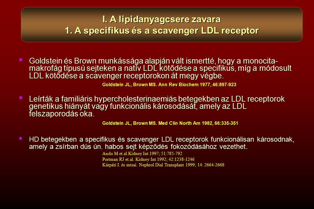  Goldstein és Brown munkássága alapján vált ismertté, hogy a monocita- makrofág típusú sejteken a natív LDL kötődése a specifikus, míg a módosult LDL kötődése a scavenger receptorokon át megy végbe.