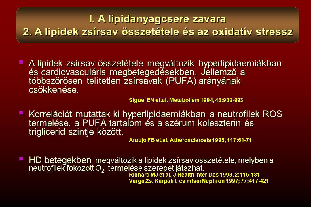  A lipidek zsírsav összetétele megváltozik hyperlipidaemiákban és cardiovasculáris megbetegedésekben. Jellemző a többszörösen telítetlen zsírsavak (P
