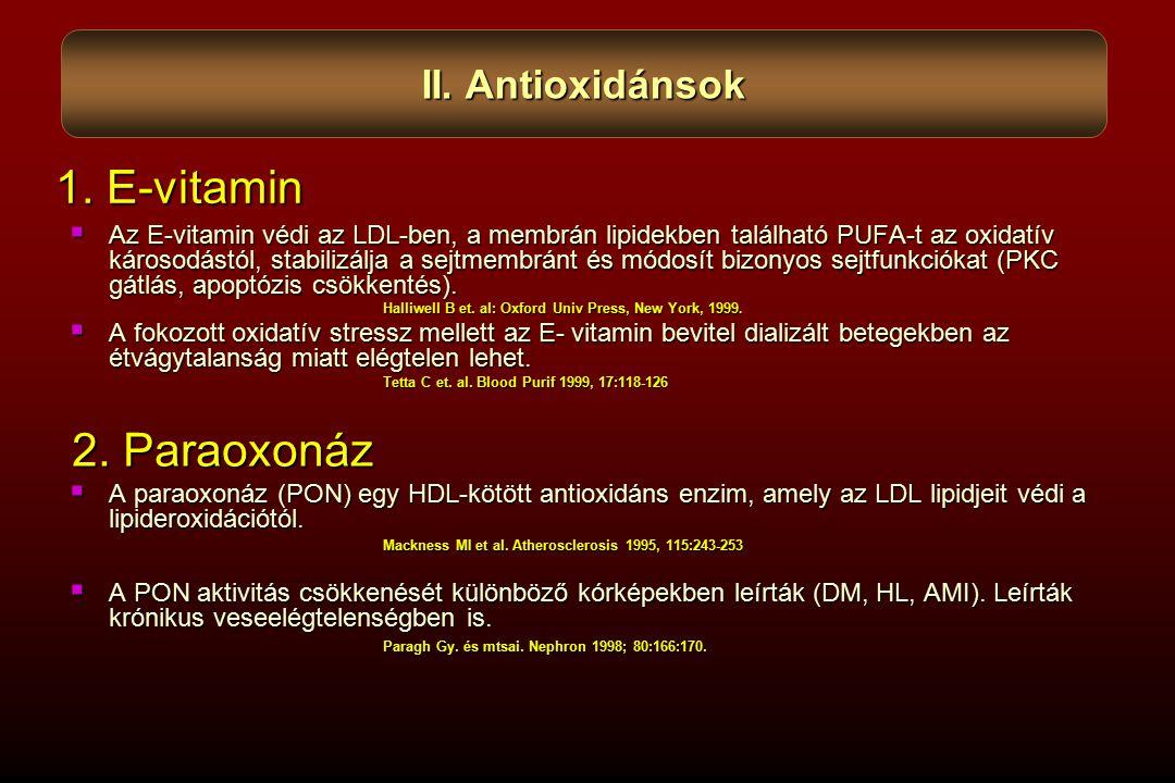  Az E-vitamin védi az LDL-ben, a membrán lipidekben található PUFA-t az oxidatív károsodástól, stabilizálja a sejtmembránt és módosít bizonyos sejtfunkciókat (PKC gátlás, apoptózis csökkentés).