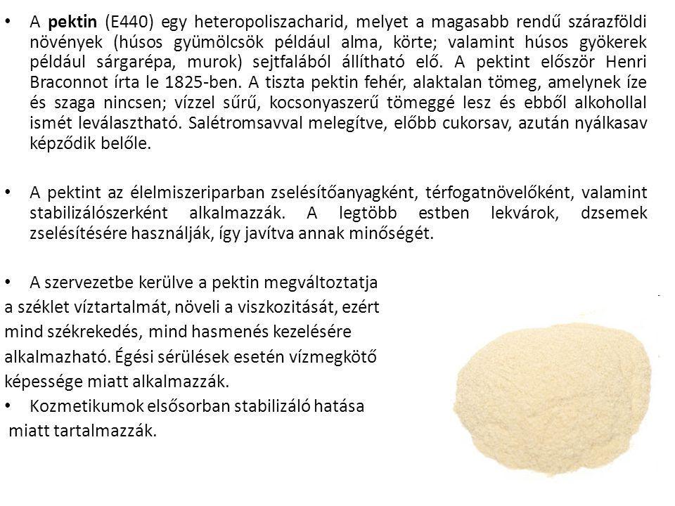 A pektin (E440) egy heteropoliszacharid, melyet a magasabb rendű szárazföldi növények (húsos gyümölcsök például alma, körte; valamint húsos gyökerek például sárgarépa, murok) sejtfalából állítható elő.
