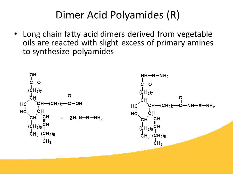 Dimer Acid Polyamides (continued) Polyamide-epoxy systems are the workhorse of high performance protective coatings