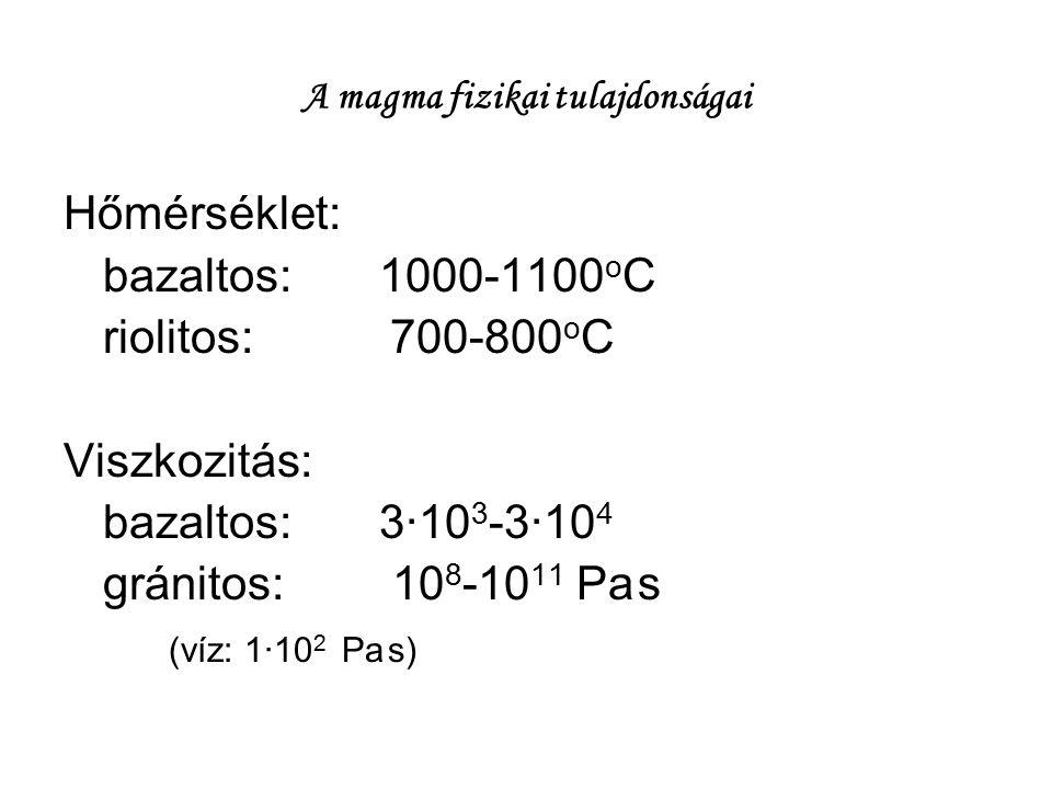 A magma fizikai tulajdonságai Hőmérséklet: bazaltos:1000-1100 o C riolitos: 700-800 o C Viszkozitás: bazaltos:3∙10 3 -3∙10 4 gránitos: 10 8 -10 11 Pa
