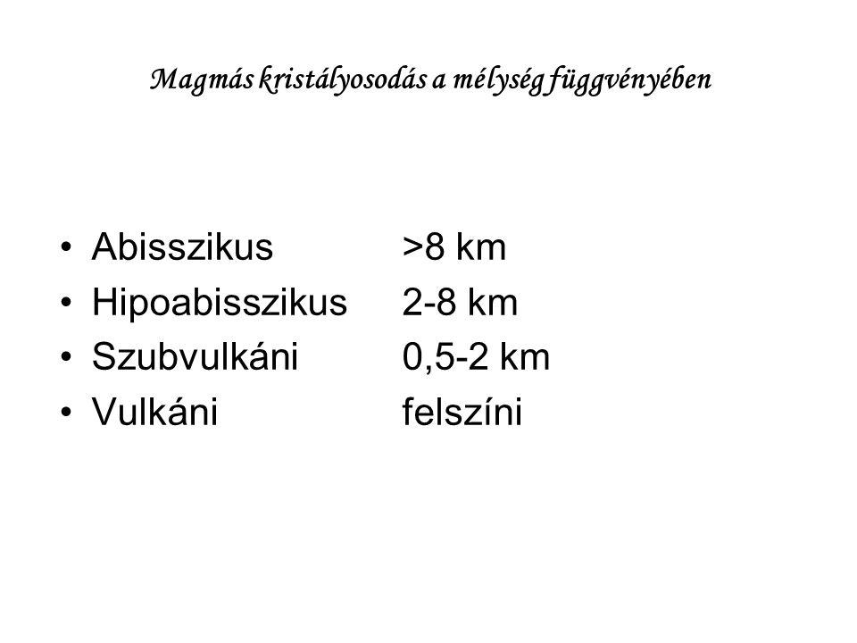 Magmás kristályosodás a mélység függvényében Abisszikus>8 km Hipoabisszikus2-8 km Szubvulkáni0,5-2 km Vulkánifelszíni