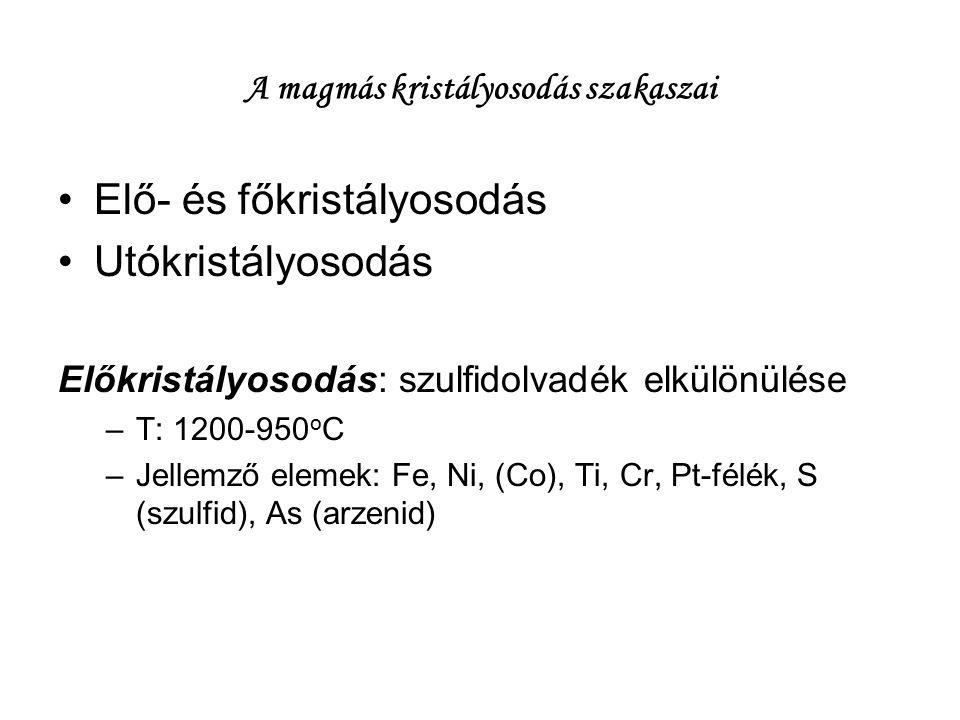 A magmás kristályosodás szakaszai Elő- és főkristályosodás Utókristályosodás Előkristályosodás: szulfidolvadék elkülönülése –T: 1200-950 o C –Jellemző