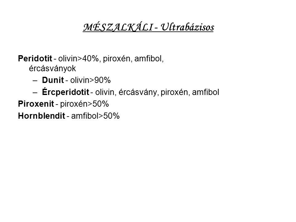 MÉSZALKÁLI - Ultrabázisos Peridotit - olivin>40%, piroxén, amfibol, ércásványok –Dunit - olivin>90% –Ércperidotit - olivin, ércásvány, piroxén, amfibo
