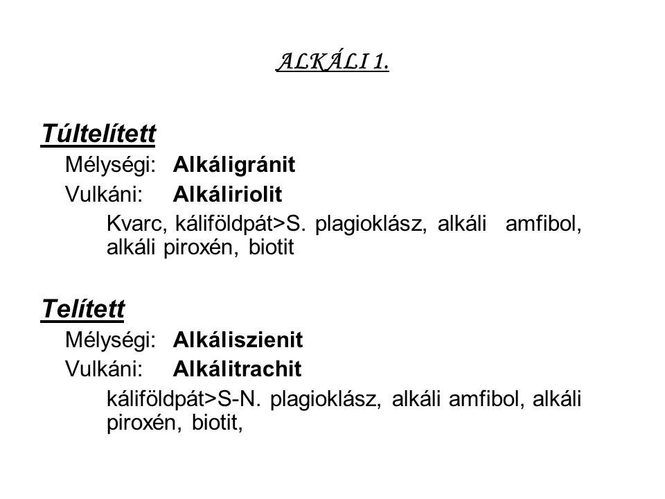 ALKÁLI 1. Túltelített Mélységi:Alkáligránit Vulkáni:Alkáliriolit Kvarc, káliföldpát>S. plagioklász, alkáli amfibol, alkáli piroxén, biotit Telített Mé