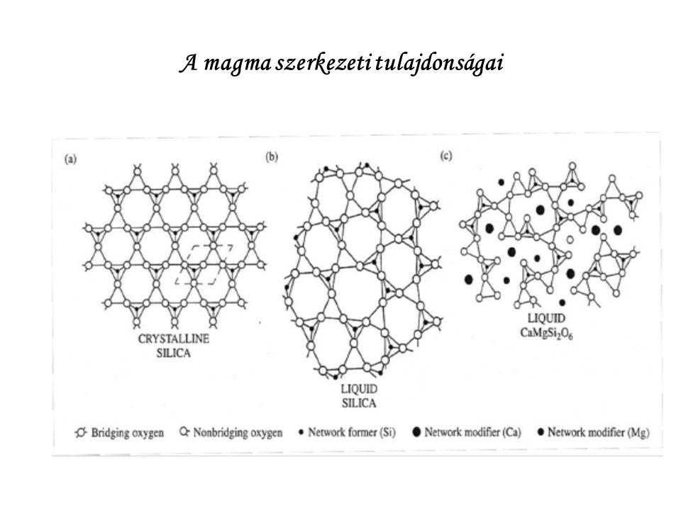 A magma fizikai tulajdonságai Hőmérséklet: bazaltos:1000-1100 o C riolitos: 700-800 o C Viszkozitás: bazaltos:3∙10 3 -3∙10 4 gránitos: 10 8 -10 11 Pa s (víz: 1∙10 2 Pa s)