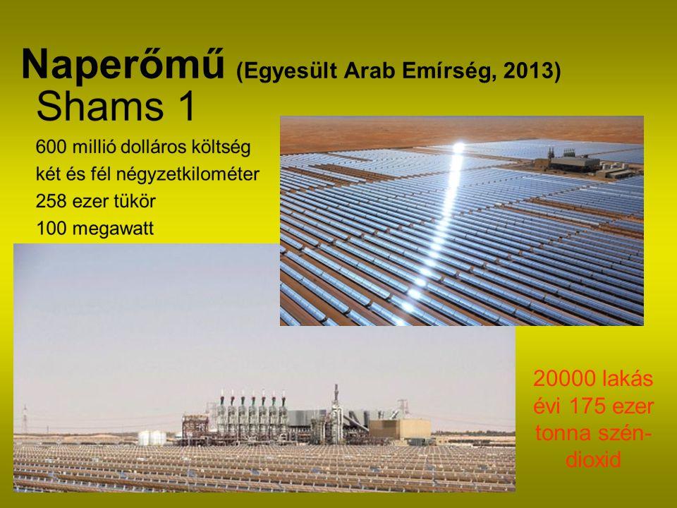 Naperőmű (Egyesült Arab Emírség, 2013) 20000 lakás évi 175 ezer tonna szén- dioxid