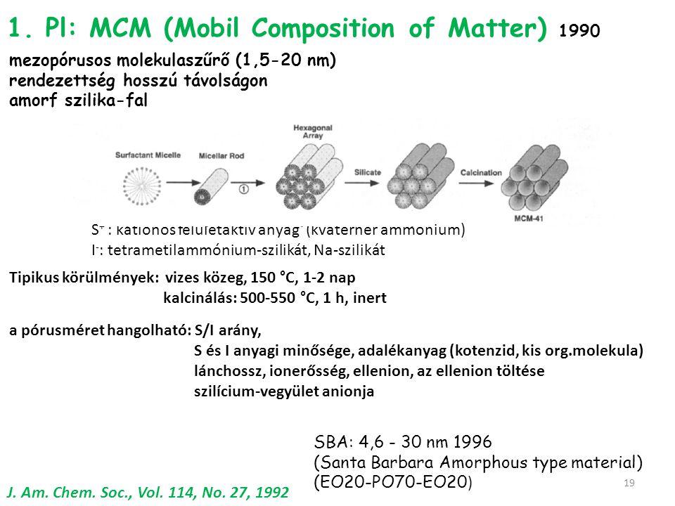 1. Pl: MCM (Mobil Composition of Matter) 1990 mezopórusos molekulaszűrő (1,5-20 nm) rendezettség hosszú távolságon amorf szilika-fal J. Am. Chem. Soc.