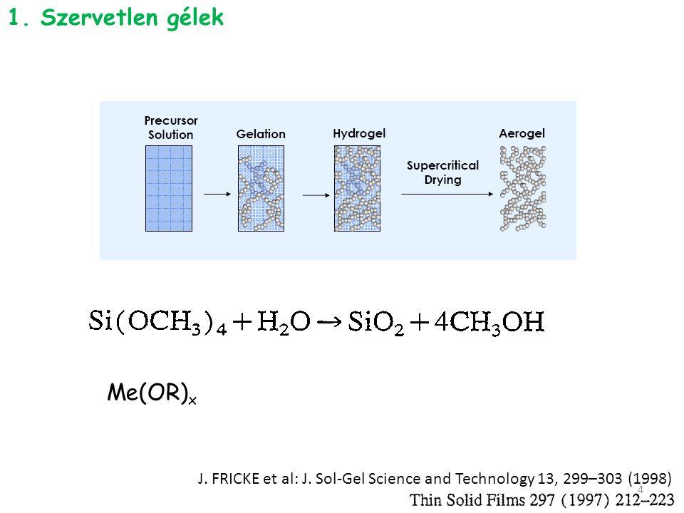 J. FRICKE et al: J. Sol-Gel Science and Technology 13, 299–303 (1998) 1. Szervetlen gélek Me(OR) x 4