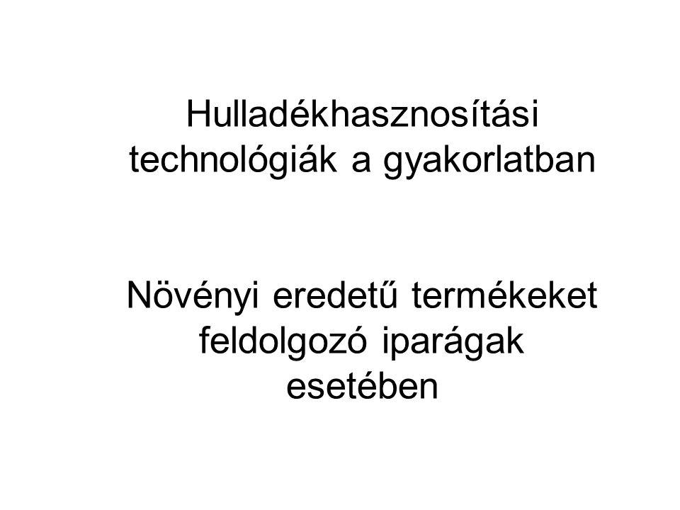 Hulladékhasznosítási technológiák a gyakorlatban Növényi eredetű termékeket feldolgozó iparágak esetében