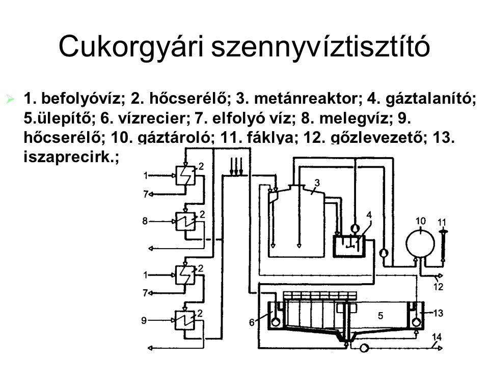 Cukorgyári szennyvíztisztító   1. befolyóvíz; 2. hőcserélő; 3. metánreaktor; 4. gáztalanító; 5.ülepítő; 6. vízrecier; 7. elfolyó víz; 8. melegvíz; 9