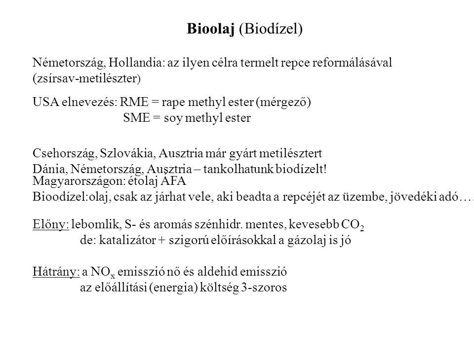Bioolaj (Biodízel) Németország, Hollandia: az ilyen célra termelt repce reformálásával (zsírsav-metilészter ) USA elnevezés: RME = rape methyl ester (