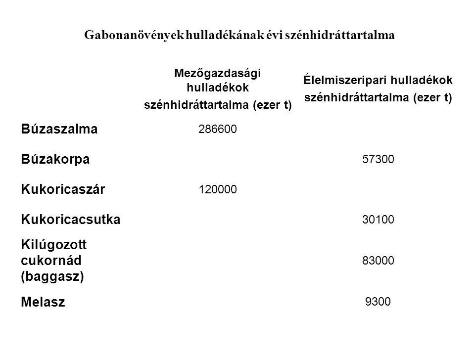 Mezőgazdasági hulladékok szénhidráttartalma (ezer t) Élelmiszeripari hulladékok szénhidráttartalma (ezer t) Búzaszalma 286600 Búzakorpa 57300 Kukorica