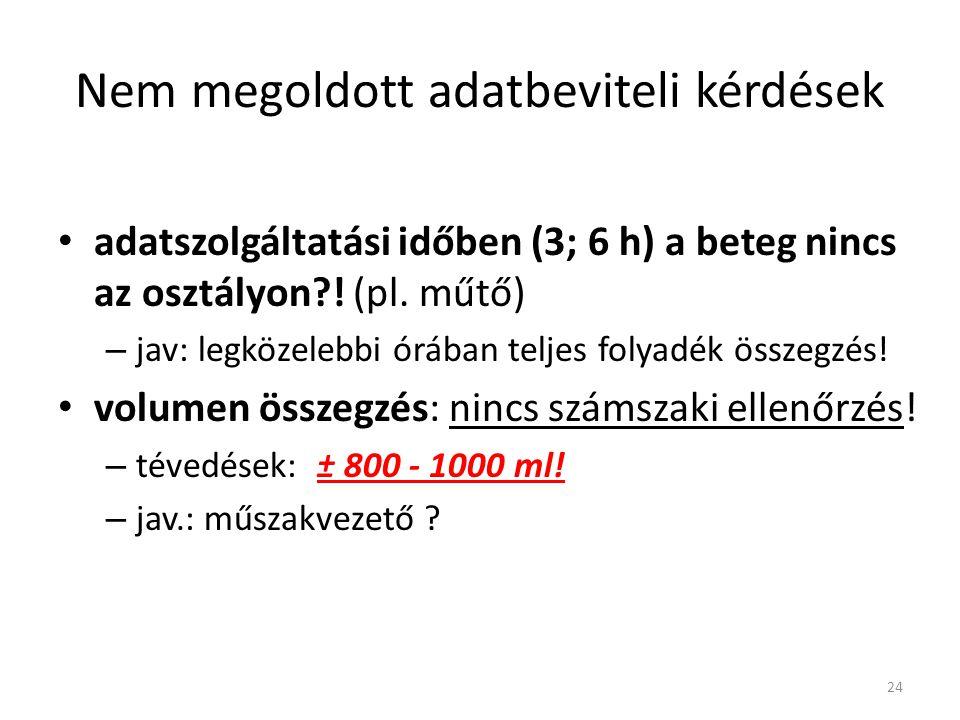 Nem megoldott adatbeviteli kérdések adatszolgáltatási időben (3; 6 h) a beteg nincs az osztályon?! (pl. műtő) – jav: legközelebbi órában teljes folyad