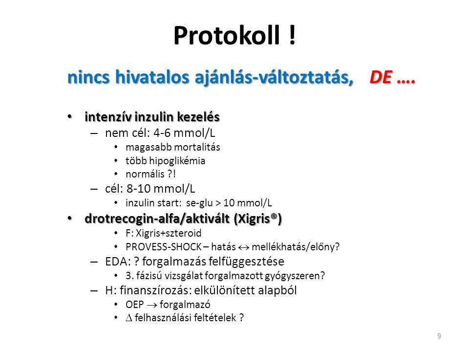 Protokoll ! nincs hivatalos ajánlás-változtatás, DE …. intenzív inzulin kezelés intenzív inzulin kezelés – nem cél: 4-6 mmol/L magasabb mortalitás töb