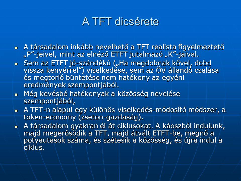 """A TFT dicsérete A társadalom inkább nevelhető a TFT realista figyelmeztető """"P""""-jeivel, mint az elnéző ETFT jutalmazó """"K""""-jaival. A társadalom inkább n"""