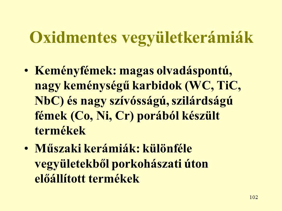 102 Oxidmentes vegyületkerámiák Keményfémek: magas olvadáspontú, nagy keménységű karbidok (WC, TiC, NbC) és nagy szívósságú, szilárdságú fémek (Co, Ni