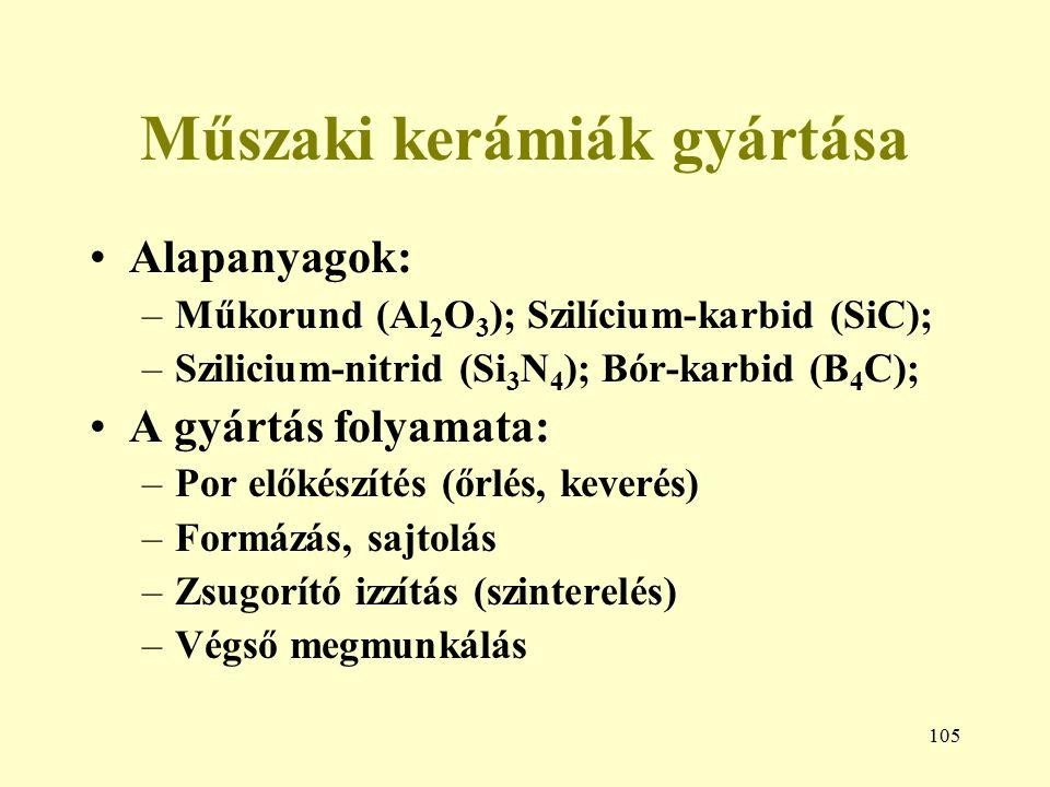 105 Műszaki kerámiák gyártása Alapanyagok: –Műkorund (Al 2 O 3 ); Szilícium-karbid (SiC); –Szilicium-nitrid (Si 3 N 4 ); Bór-karbid (B 4 C); A gyártás