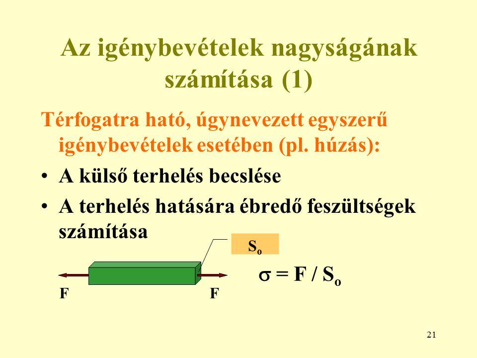 21 Az igénybevételek nagyságának számítása (1) Térfogatra ható, úgynevezett egyszerű igénybevételek esetében (pl. húzás): A külső terhelés becslése A