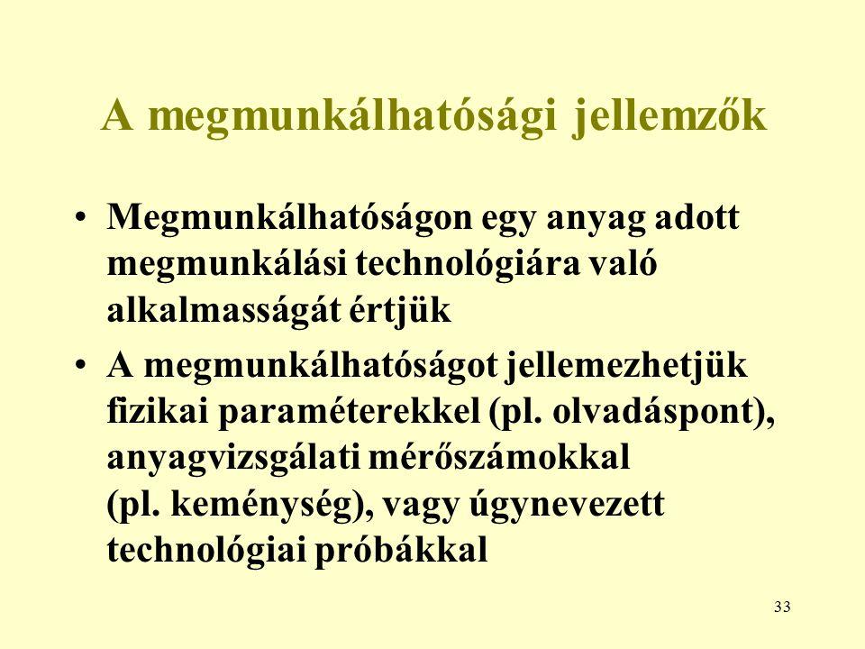 33 A megmunkálhatósági jellemzők Megmunkálhatóságon egy anyag adott megmunkálási technológiára való alkalmasságát értjük A megmunkálhatóságot jellemez