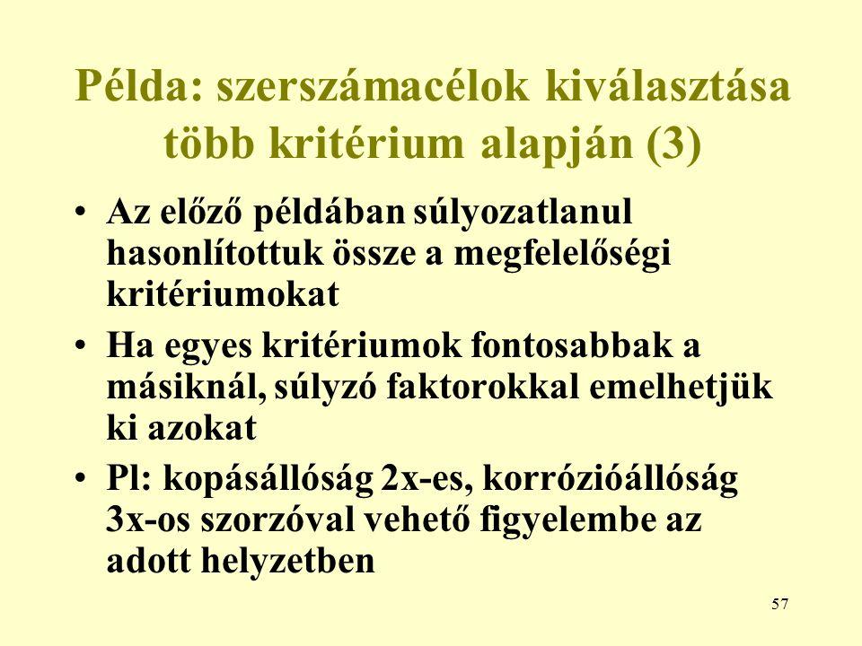 57 Példa: szerszámacélok kiválasztása több kritérium alapján (3) Az előző példában súlyozatlanul hasonlítottuk össze a megfelelőségi kritériumokat Ha
