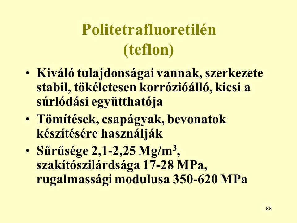 88 Politetrafluoretilén (teflon) Kiváló tulajdonságai vannak, szerkezete stabil, tökéletesen korrózióálló, kicsi a súrlódási együtthatója Tömítések, c