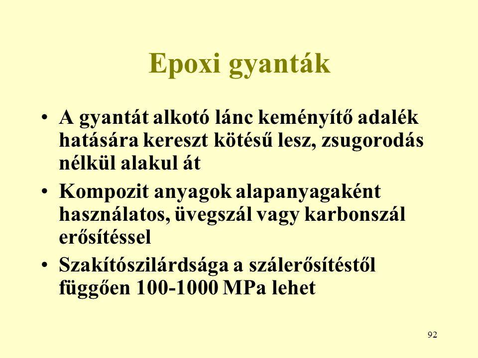 92 Epoxi gyanták A gyantát alkotó lánc keményítő adalék hatására kereszt kötésű lesz, zsugorodás nélkül alakul át Kompozit anyagok alapanyagaként hasz